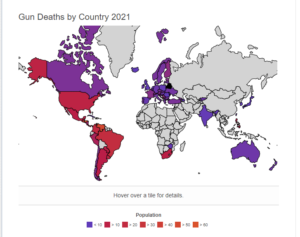 map of gun deaths in the world